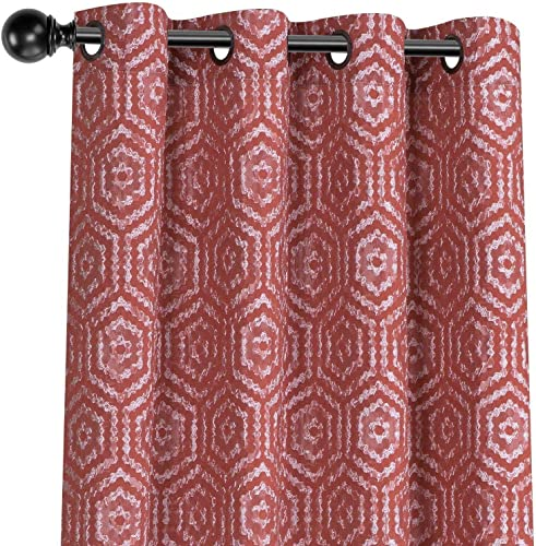 GoodGram 2 Pack Raised Geometric Jacquard Designer Custom Semi Sheer Grommet Top Window Curtains for Bedrooms Living Rooms – Assorted Colors Spice