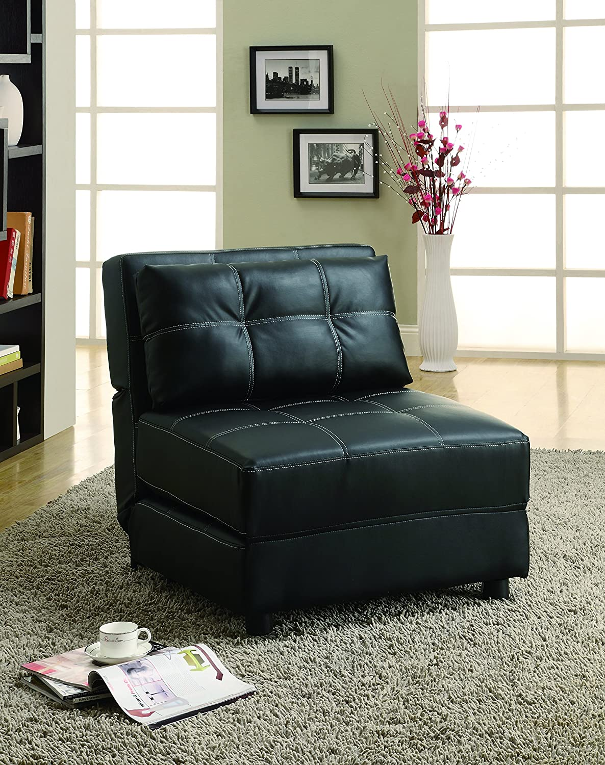2.Coaster Casual Black Leather Armless Lounge Chair