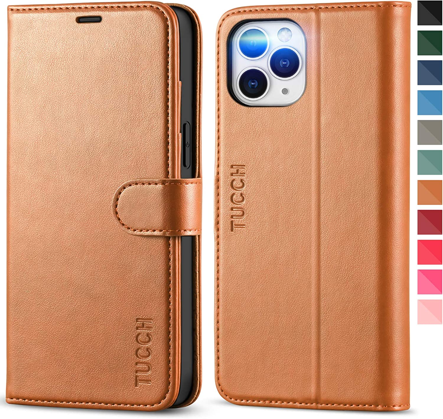 TUCCH Wallet Case for iPhone 12 Pro Max 5G, Magnetic PU Leather Stand Flip Folio Phone Cover with TPU Protective Inner Shell, RFID Blocking Card Slots Compatible with iPhone 12 Pro Max, Light Brown