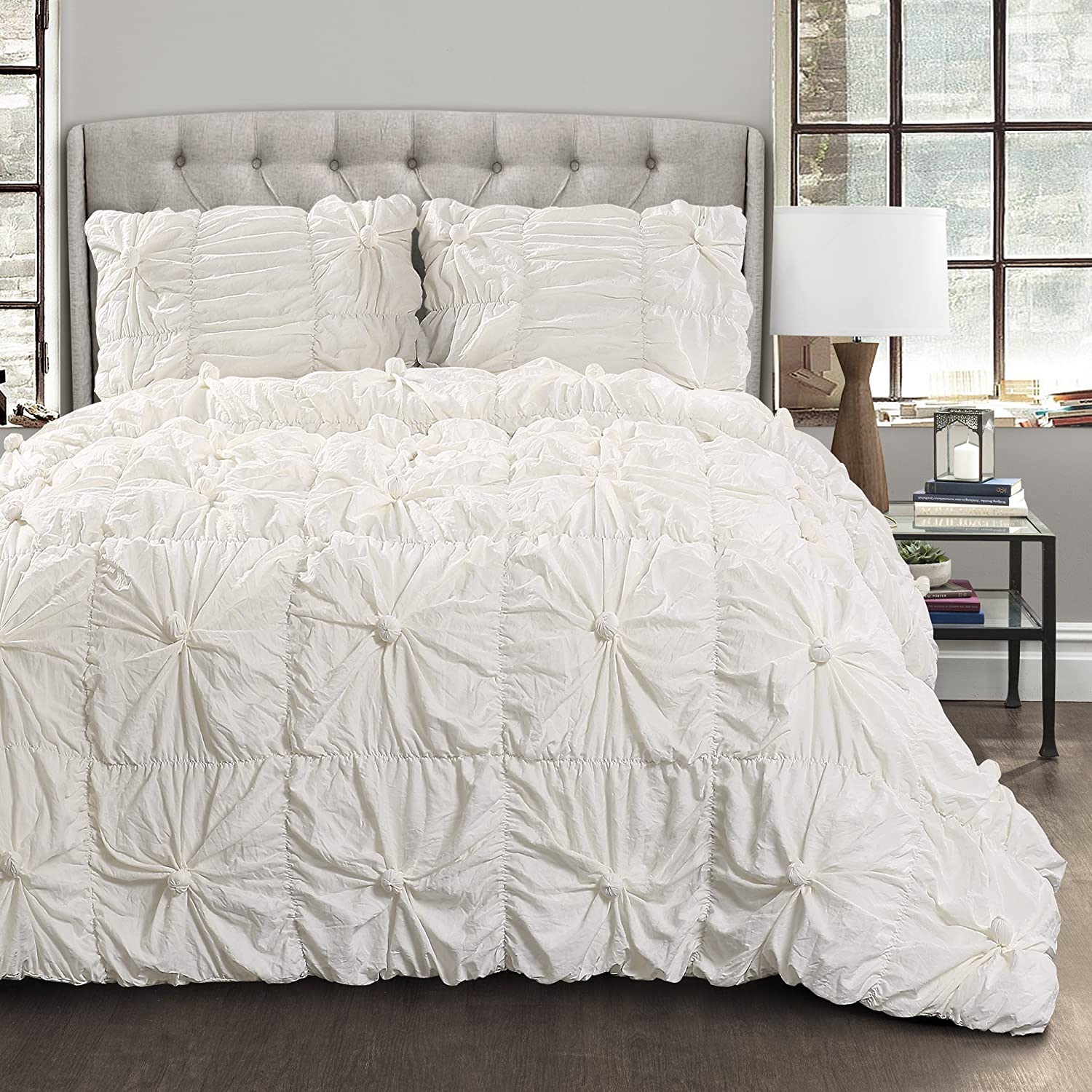 Lush Decor Bella Comforter Set Shabby Chic Style Ruched 3 Piece Bedding with Pillow Shams-King-White