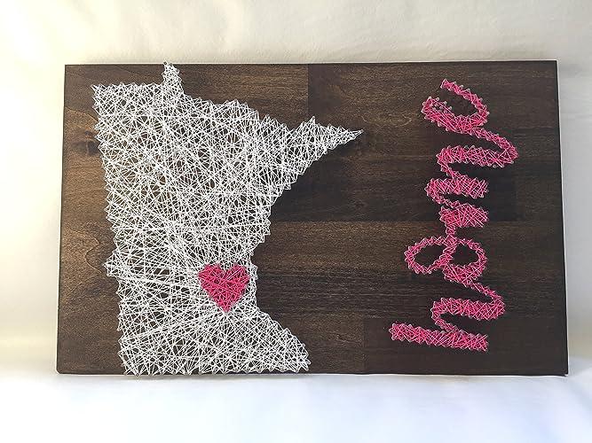 Amazon Minnesota Heart Home String Art 12 X 18 Nail And