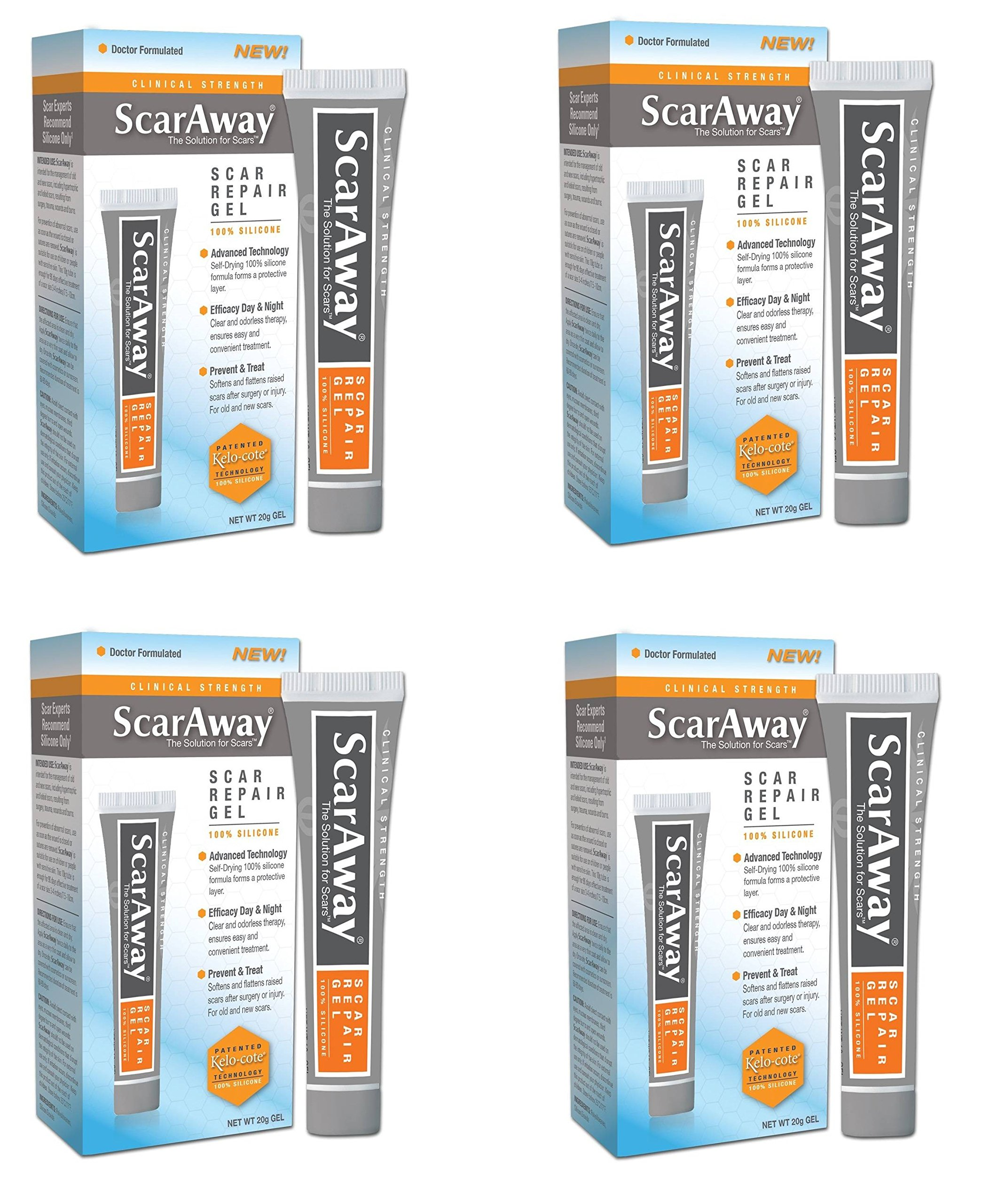 ScarAway 100% Silicone Self Drying Scar Repair Gel with Patented Kelo-cote Technology jQEkke, 20 grams, Pack of 4