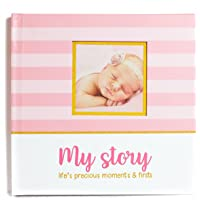 LovelySprouts First Year Baby Memory Book & Baby Journal (3 Color Styles Available). Perfect for Boys Or Girls Baby Shower Gift. First 5 Years Scrapbook, Keepsake & Photo Journal. Unisex, Pink