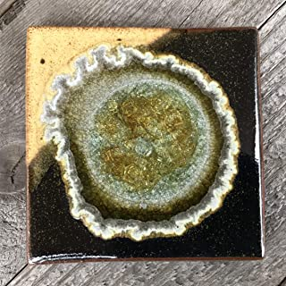 product image for Geode Crackle Coaster in Black and Cream, Individual Coaster, Geode Coaster, Agate Coaster, Fused Glass Coaster, Crackle Glass Coaster, Dock 6 Pottery Coaster, Dock 6 Pottery, Kerry Brooks Pottery
