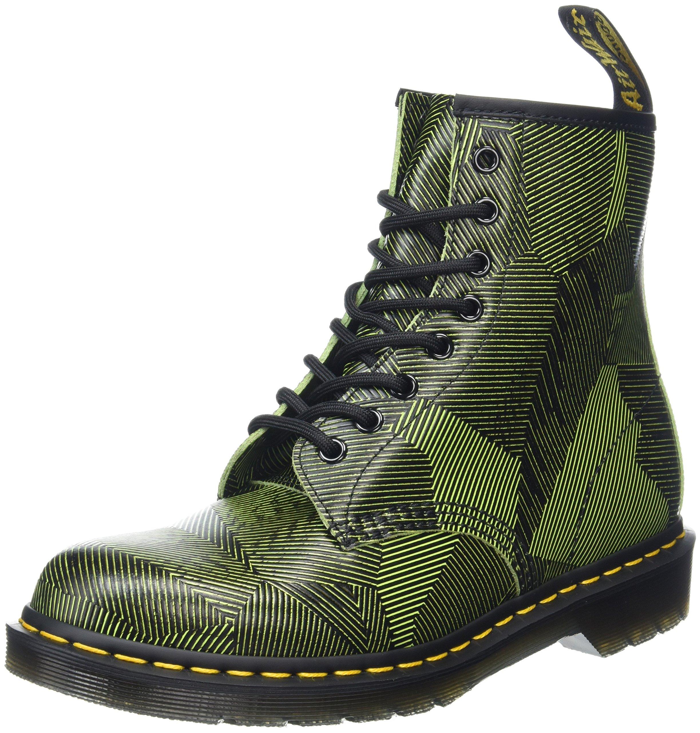 6d4852e983f Dr. Martens Mens 1460 Combat Boot, Neon Yellow/Black Geostripe, Size UK 9  (10 M US Men/11 M US Women)