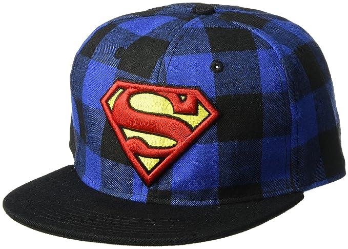 c3bd236a347 ... wholesale superman mens buffalo check baseball cap adjustable black one  size 53852 40df0 ...