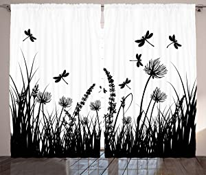 """Ambesonne Nature Curtains, Grass Bush Meadow Silhouette with Dragonflies Flying Spring Garden Plants Display, Living Room Bedroom Window Drapes 2 Panel Set, 108"""" X 84"""", Black White"""