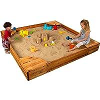 KidKraft Wooden Backyard Sandbox with Built-in Corner Seating and Mesh Cover - Honey