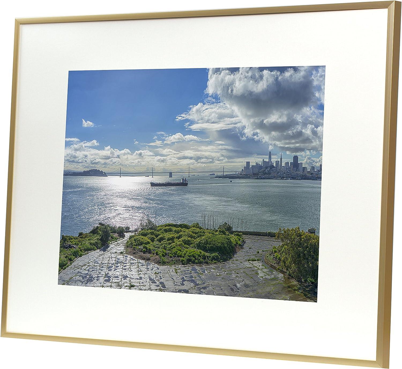 Premium Art Print FRAMED COASTAL PATH 16 x 20 inch double matted