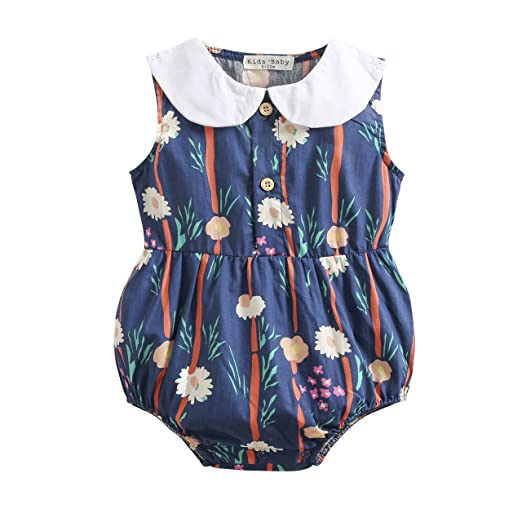 83ae258b6d5 Amazon.com  Sanlutoz Floral Printing Toddler Baby Girls Clothes Summer  Cotton Bodysuit Lovely Baby Romper  Clothing