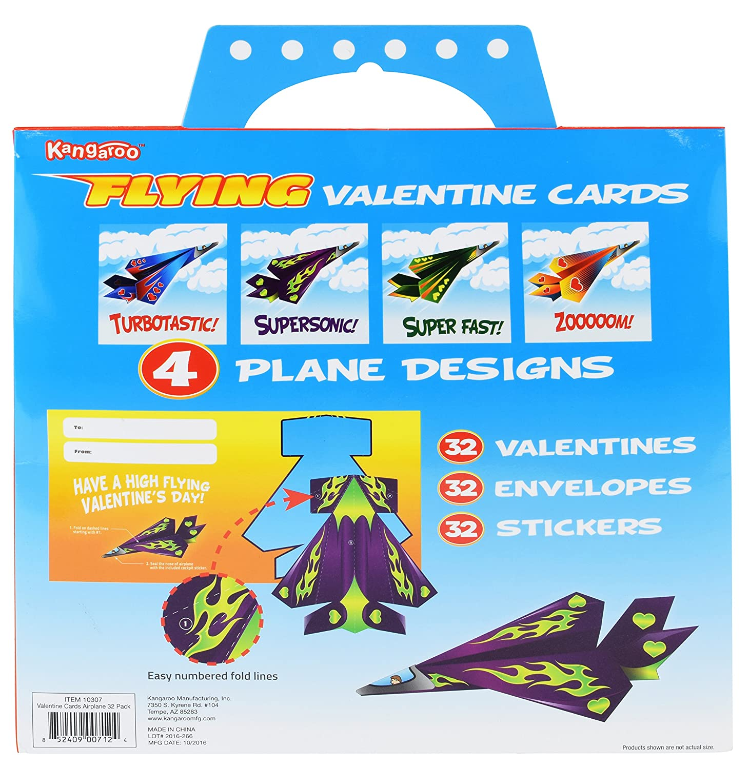 Amazon Kangaroos Flying Paper Airplanes 32Count – Boys Valentines Cards