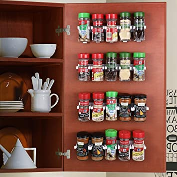 Amazon Com Caxxa 50 White Adhesive Spice Gripper Strip Clips With Extra Support Spice Rack Dispenser Kitchen Cabinet Holder 10 Strips Holds 50 Jars Home Improvement