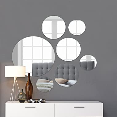 Light In The Dark Round Wall Mirror Mounted Assorted Sizes,1 Large 10 , 3 Medium 7 , 3 Small 4 ,Set of 7