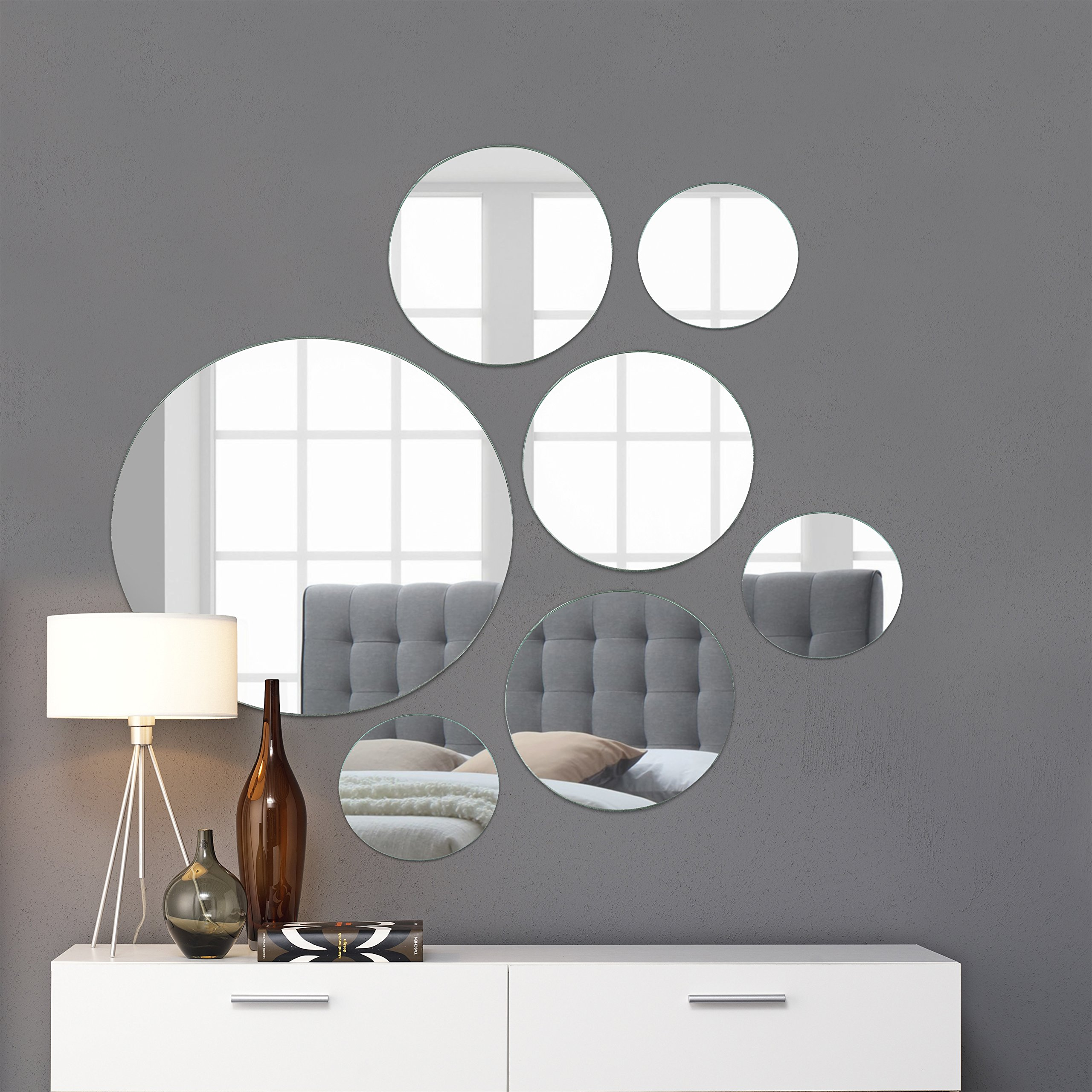 Light In the Dark Round Wall Mirror Mounted Assorted Sizes,1 large 10'', 3 Medium 7'', 3 Small 4'',Set of 7