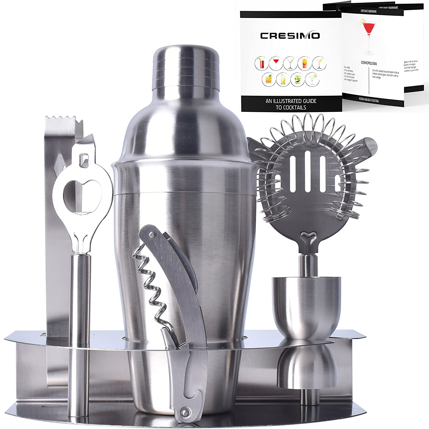 Home Cocktail Bar Set by Cresimo – Stainless Steel 7 Piece Professional Bar Tool Kit – 100% GUARANTEE AND WARRANTY. Includes Martini Shaker, Strainer, Jigger and More! SYNCHKG101834