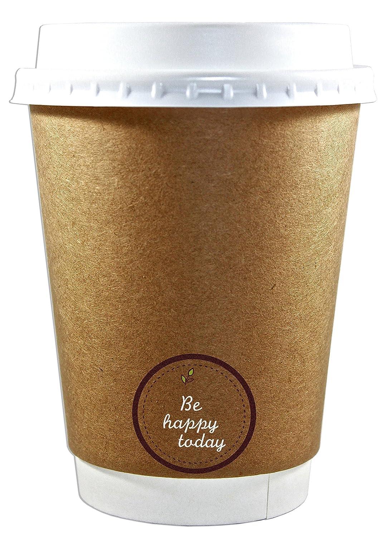 プレミアム品質12oz使い捨てコーヒーカップwith Lids ( 50カウント)、断熱二重wall-no袖needed-leak Proof、Eco Friendly、Perfect for Hot & Cold Drinks inオフィス、自宅、旅行、パーティー& More B075CQK3R8