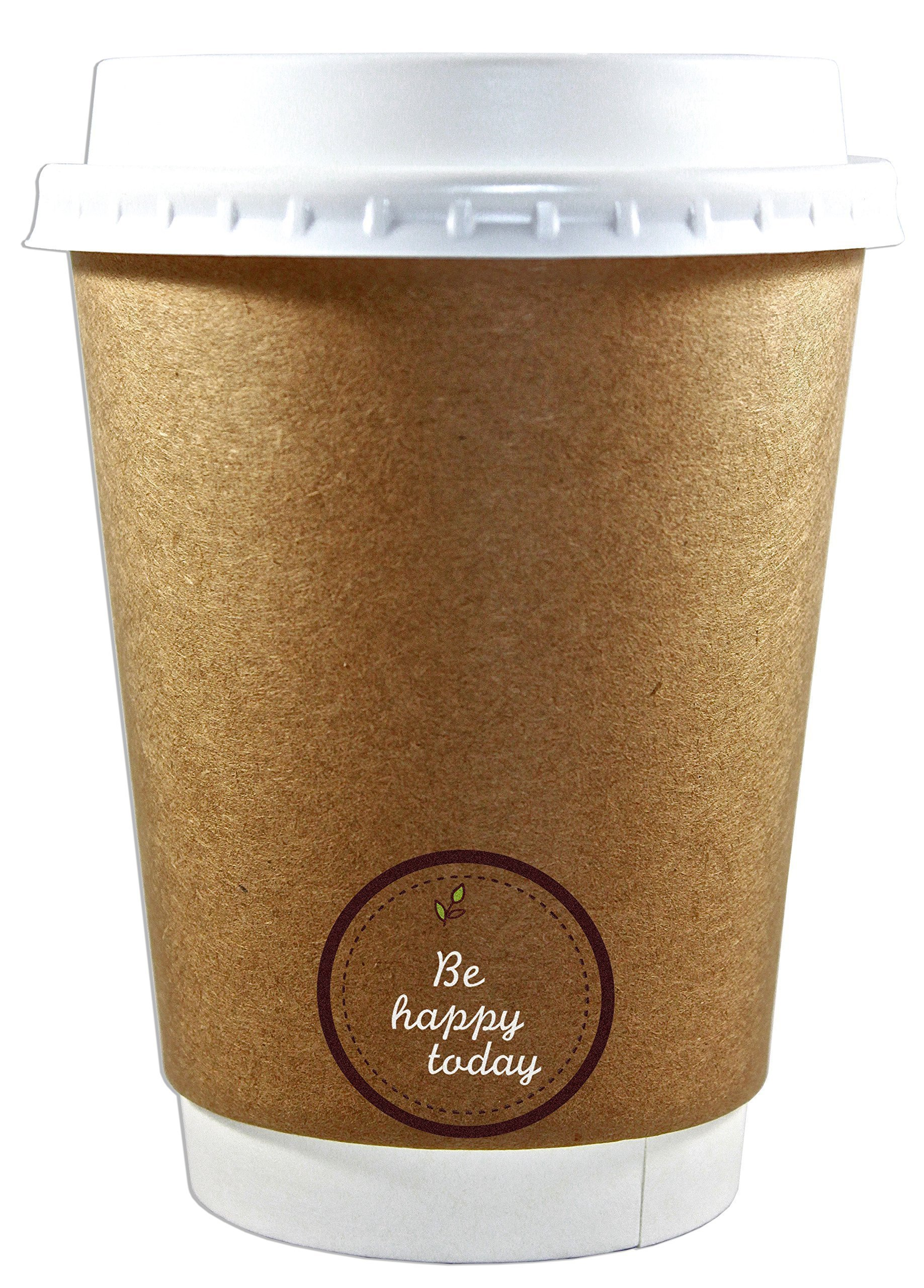 50 Premium Quality 12oz Disposable Paper Coffee Cups with Lids, Insulated Double Wall-No Sleeves Needed-Leak Proof, Eco Friendly,Perfect for Hot & Cold Drinks in Office,Home,Travel,Party&more