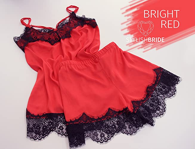 4e8aaf47d0 Amazon.com  24 Bright Red Pajamas lace silk set with black lace ...