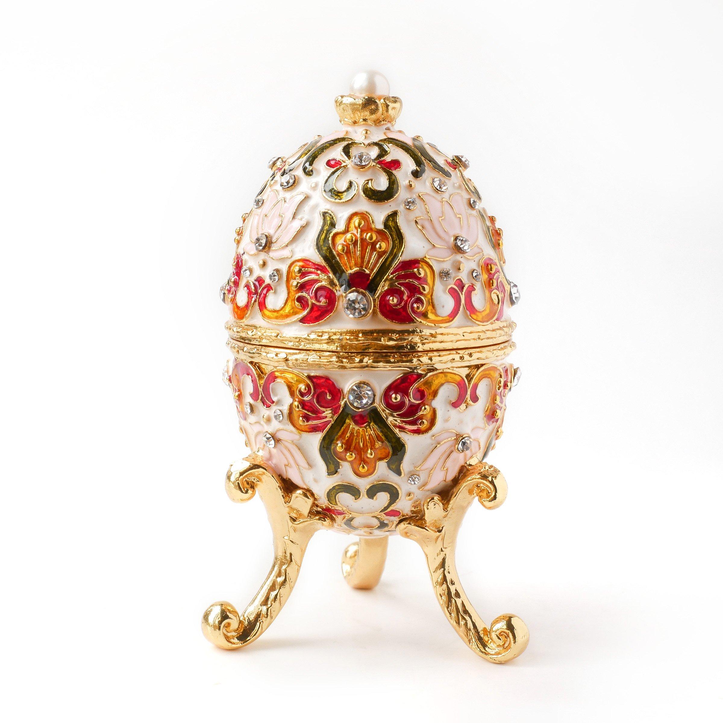 Faberge Egg w Rich Enamel /& Sparkling Rhinestones Jewelry Trinket Box Royal Red