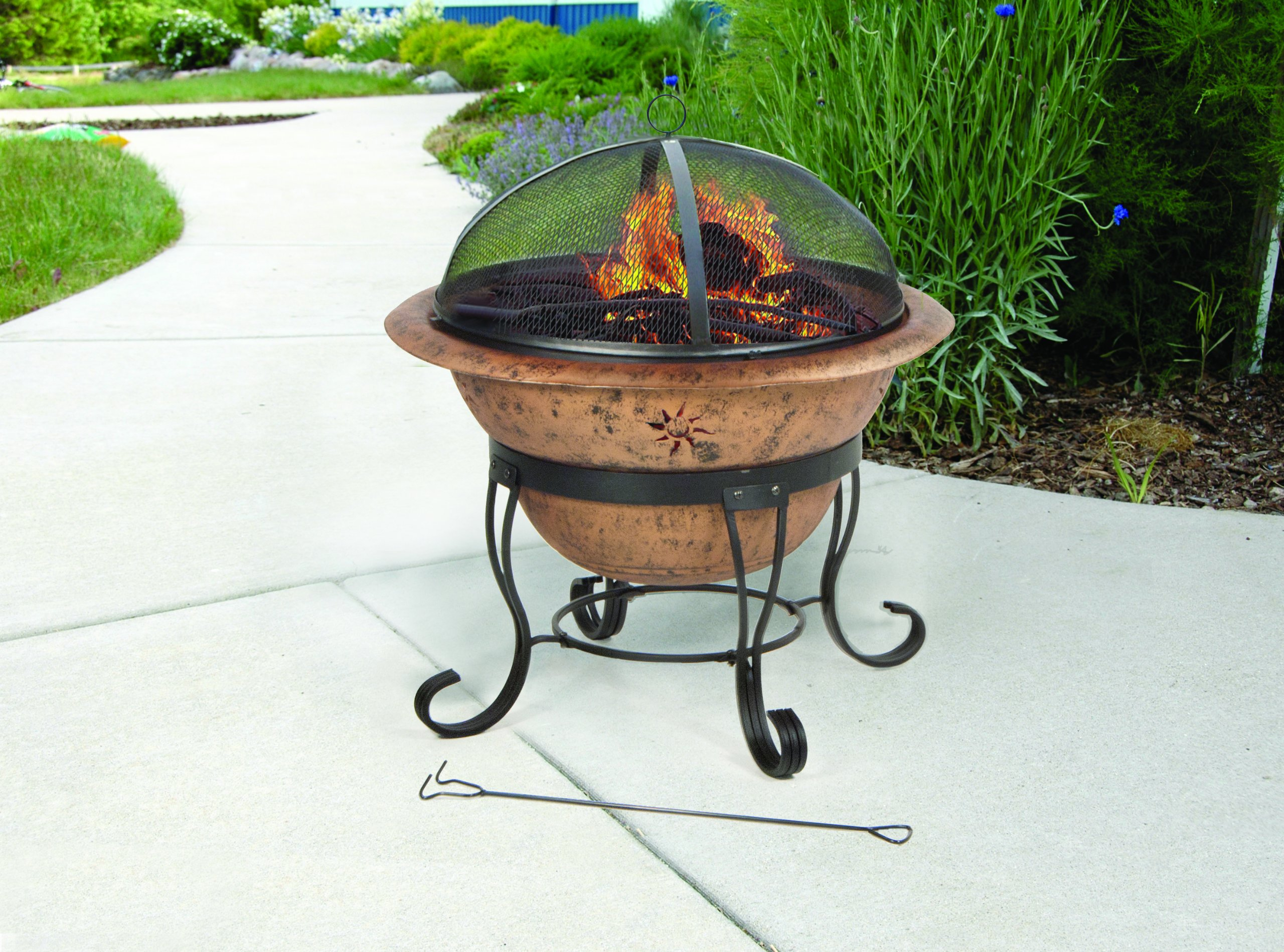 DeckMate Kay Home Product's Soleil Steel Fire Bowl - Decorative sunburst cutouts enhance warmth and glow from this stylish outdoor fireplace The steel log grate allows circulation and air flow A high domed wire mesh screen provides protection from sparks and allows for an open view of the fire - patio, outdoor-decor, fire-pits-outdoor-fireplaces - 918bc%2BrMtwL -