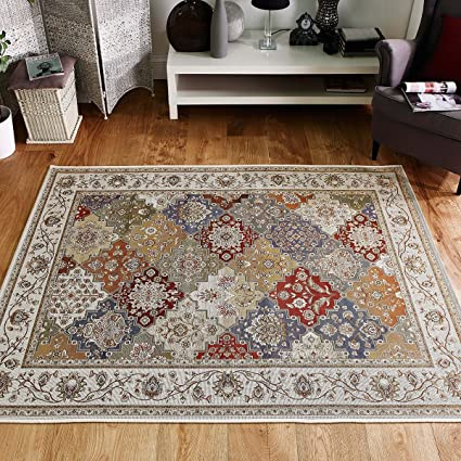 Carlucci Flatweave Rug Cream Green Terracotta Blue Multi 0 8m X 1 4m Amazon Co Uk Kitchen Home