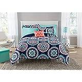 8 Piece Girls Navy Blue Coral Medallion Comforter With Sheet Full Set, Teal Blue Color Mandala Bohemian Circular Pattern Reversible Kids Bedding, Transitional Geometric Themed Teen, Polyester