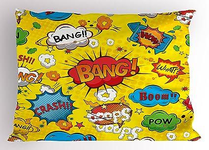 Superhéroe almohada Sham por Ambesonne, humor bocadillos Funky vivos Bang Boom Bam Pow ficción símbolos