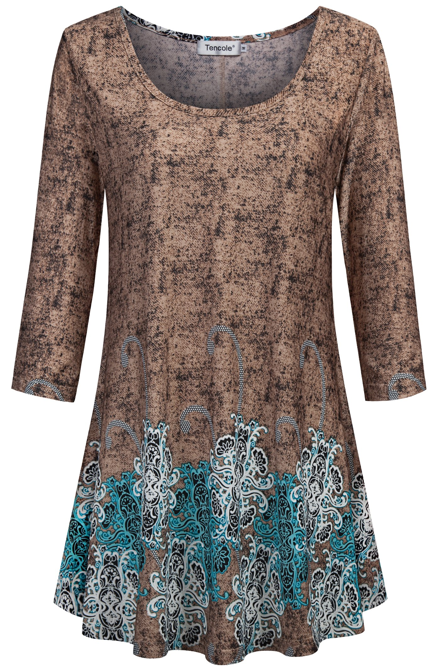 Tencole Swing Tops Women Flare Tops Skinny Pants Floral Print Blouses Slim Paisley Pattern Country Style Tunics Medium Large