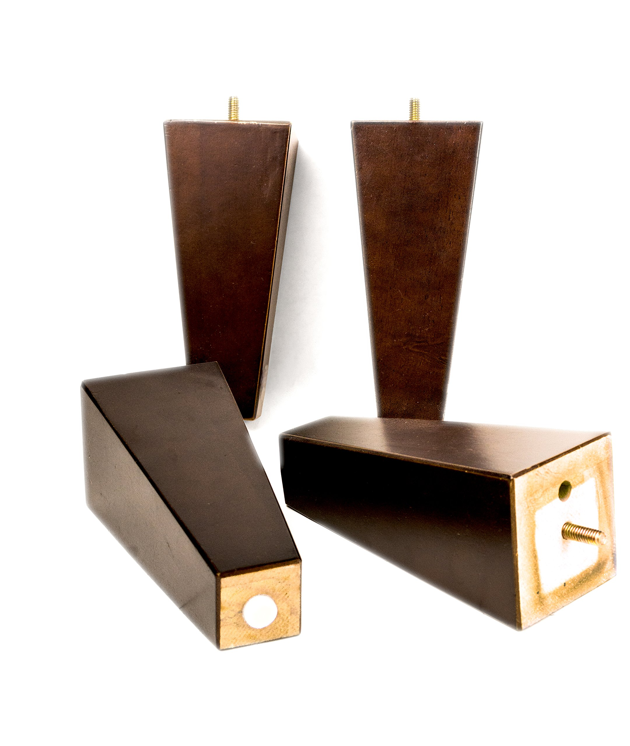 MJL Furniture Designs Large Wooden Square/Block Shaped Replacement Sofa or Ottoman Threaded Leg (Set of 4), Espresso, 7-1/4'' x 3'' x 3''