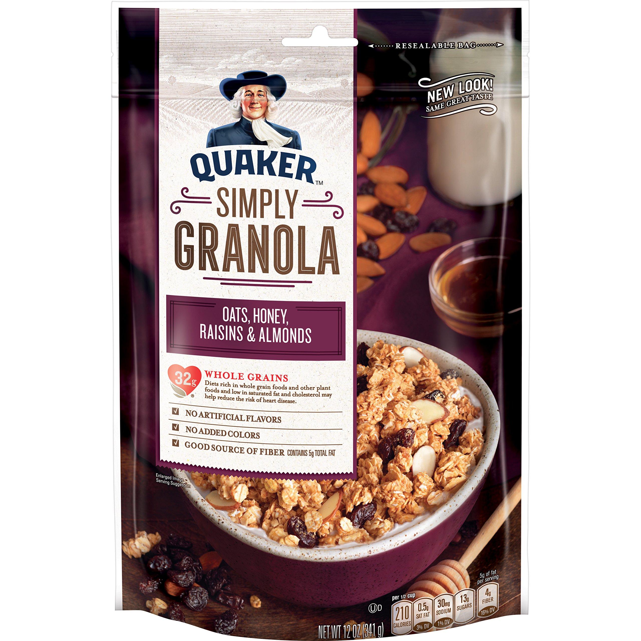 Quaker Simply Granola, Oats, Honey, Raisins & Almonds, (12 oz each) 6 Bags