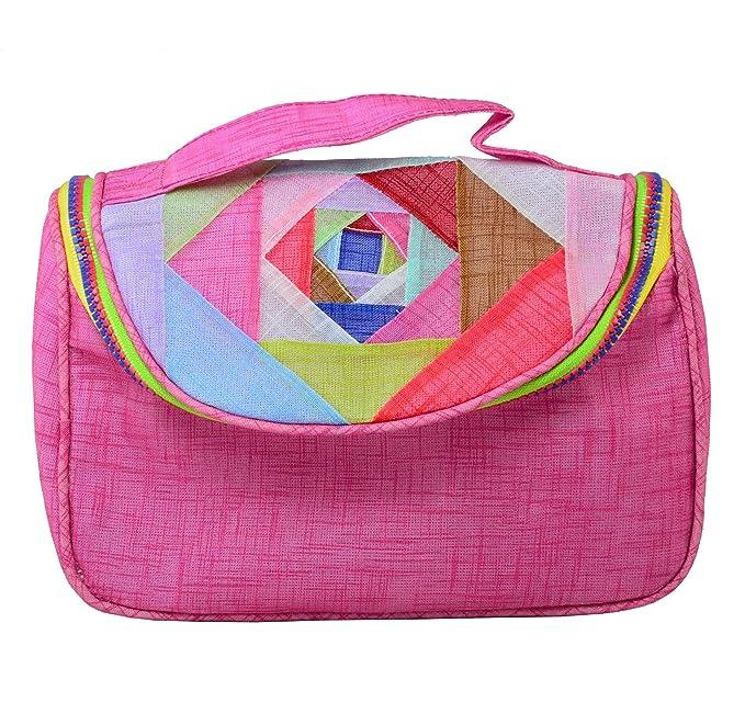 Grande Trousse à Maquillage - Style Sacoche Design Coloré Patchwork, Tissu Ramie (Rose)