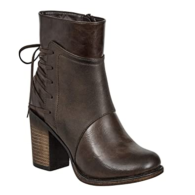 32e1072a9b62f MVE Shoes Women's Mid Calf Boots with Distressed PU Upper,