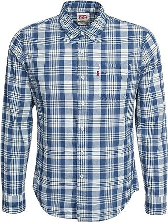 Levis - Camisa Cuadros Manga Larga - Modelo - 65824-0133 - Hombre - Color - Azul/Blanco - Talla - S: Amazon.es: Ropa y accesorios