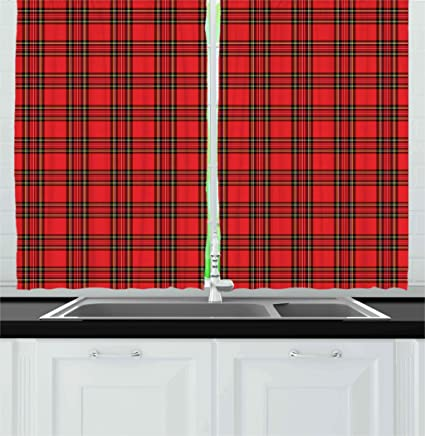 Retro Kitchen Curtains by Ambesonne, Classical Plaid Pattern Scottish  Striped Tartan Traditional Graphic Illustration, Window Drapes 2 Panel Set  for ...