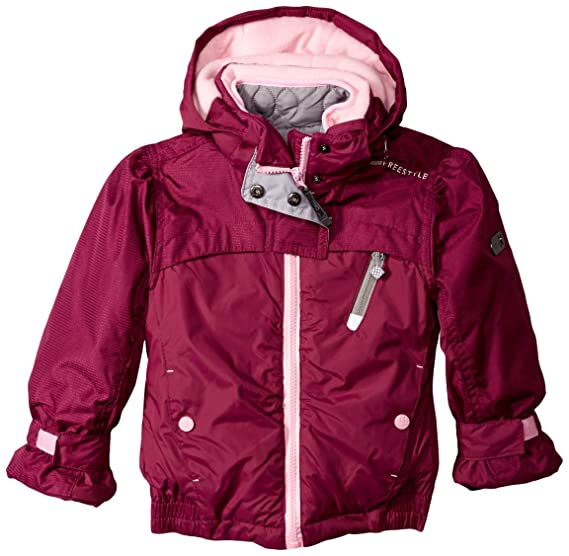 Big Chill Little Girls' Systems Coat with Embroidered Fleece, Magenta, 5/6