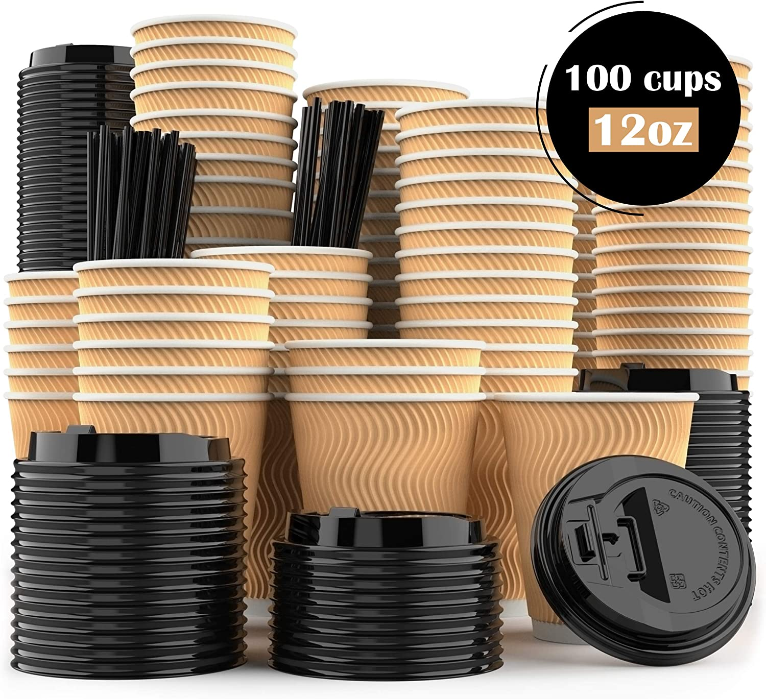 100 Pack 12 Oz Disposable Hot Paper Coffee Cups, Lids, Sleeves, Stirring Straws To Go