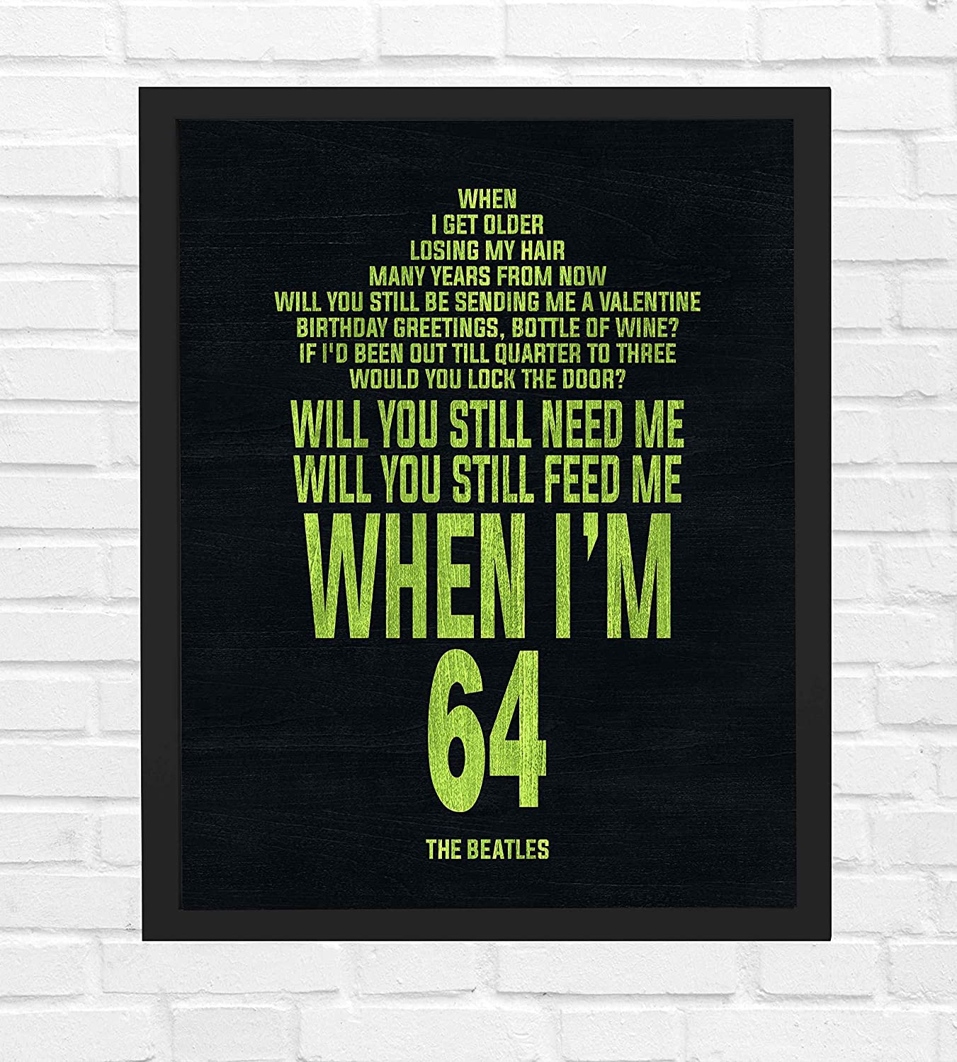 The Beatles When I M 64 Song Lyrics Wall Art 8 X 10 Music Poster Print Ready To Frame Vintage Typographic Sign For Home Office Studio Cave Décor Perfect Love Song Gift For Beatles Fans Handmade