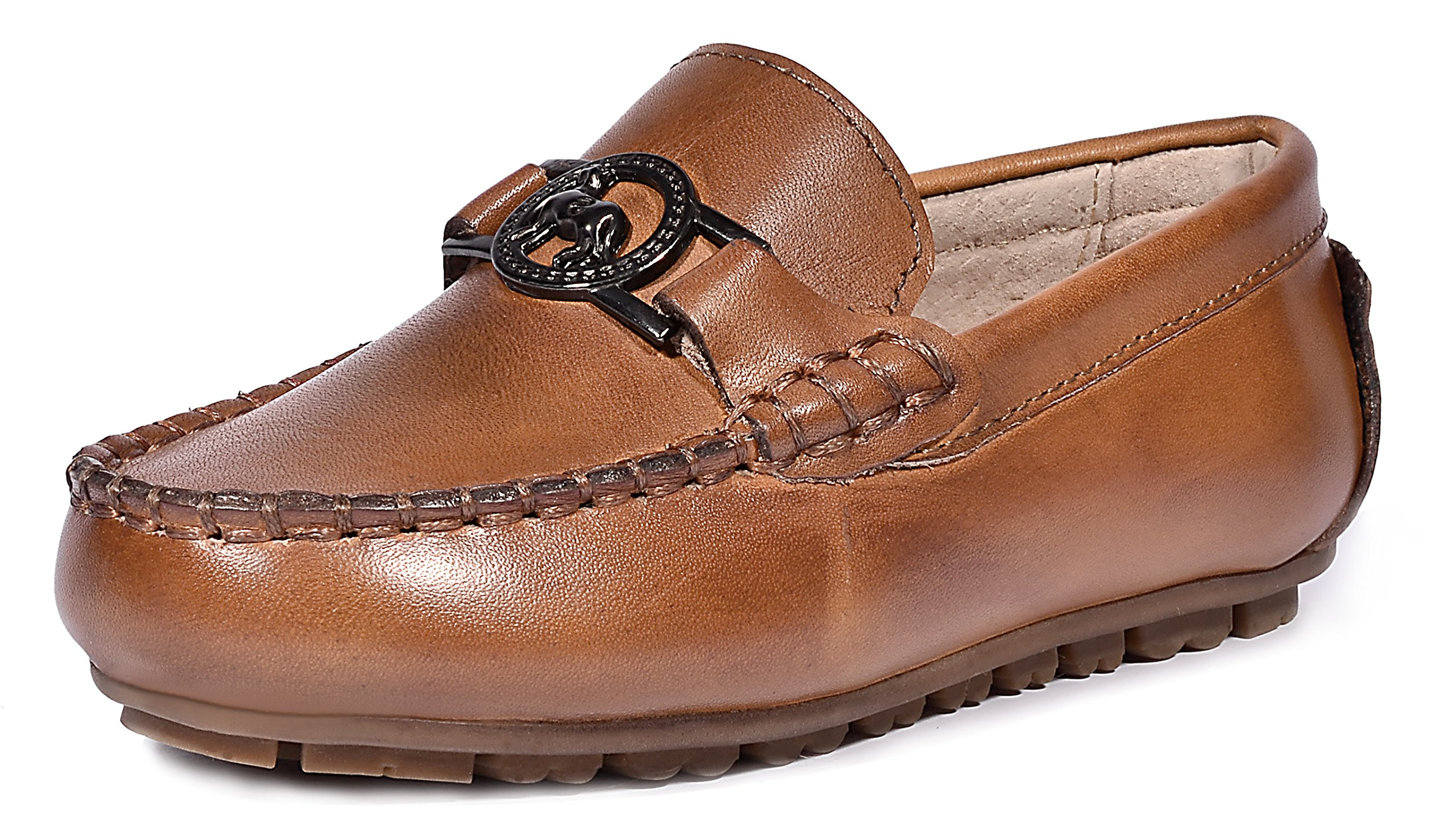 LIYZU Boy's Leather Distressed Loafers Dress Oxford Shoes (Toddler/Little Kid/Big Kid) US Size 5.5 Brown by LIYZU