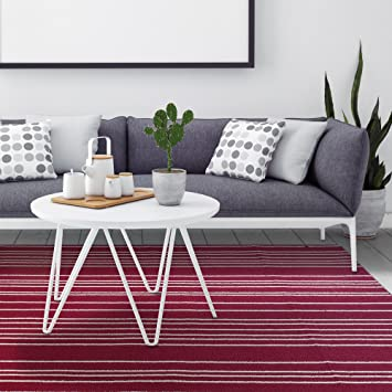 ICustomRug Striped Loop Pile Berber Carpet Non Skid Utility Rug 6ft0in X 8ft0in 6