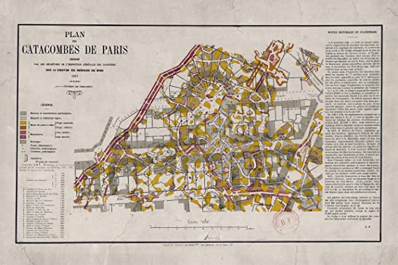 Paris Georgia Map.Amazon Com History Prints Paris Catacombs Antique Map From 1857