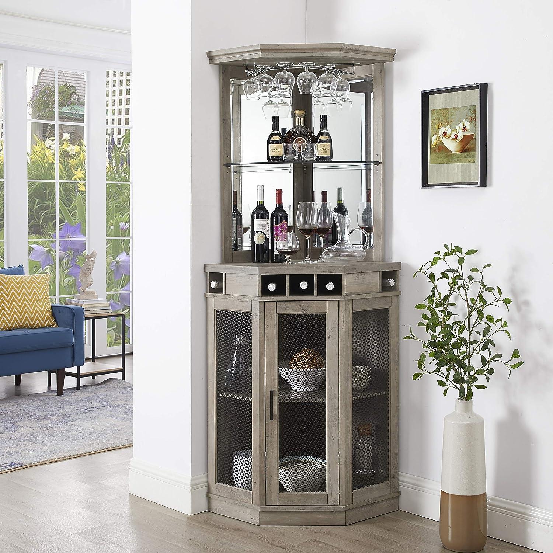Home Source Corner Bar Unit (Stone Grey)