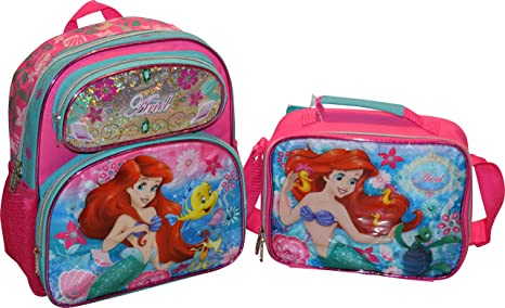 ef9e3d4188a Disney Girl Little Mermaid Ariel 12.5 quot  Backpack And Matching Lunch Box  Set