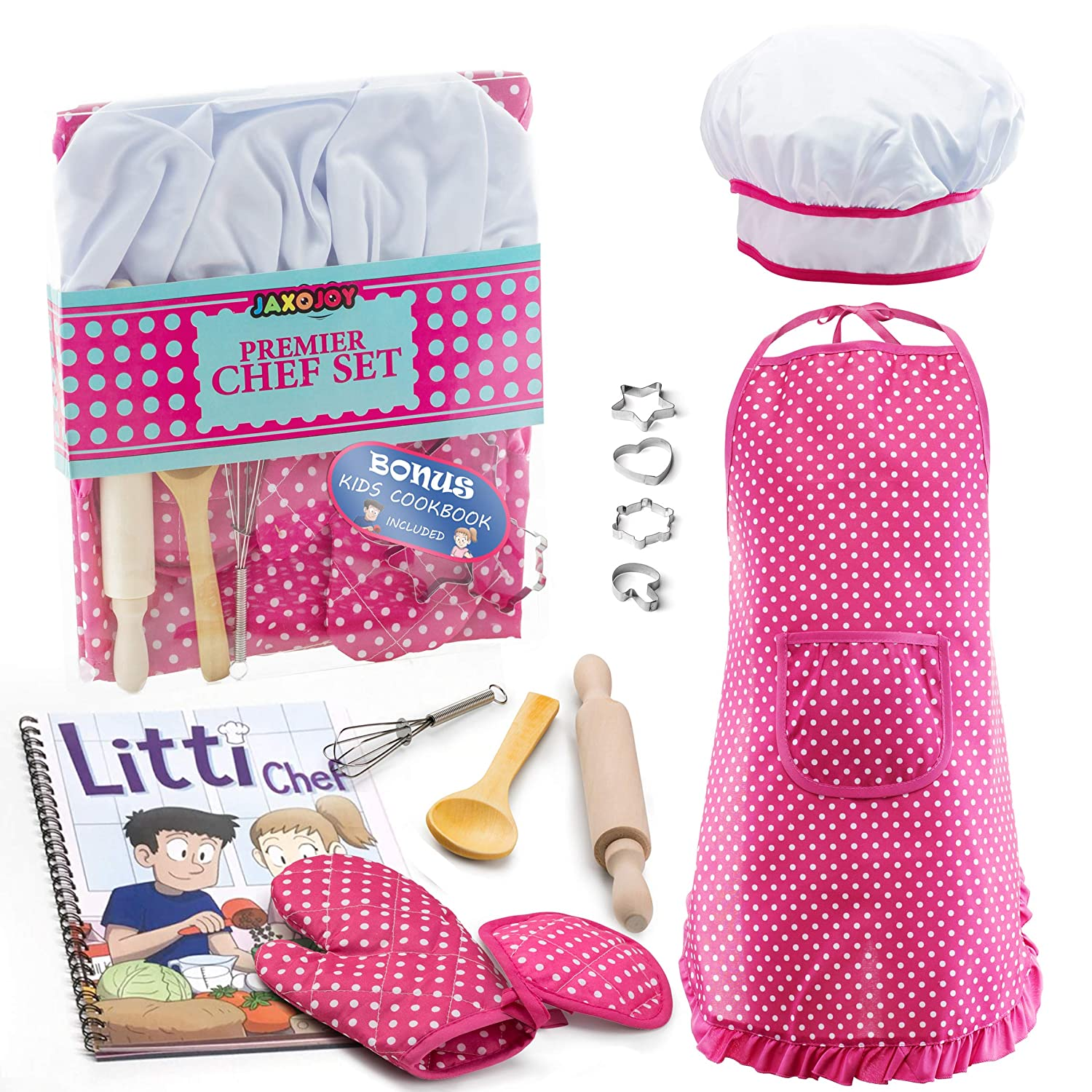 JaxoJoy Complete Kids Cooking and Baking Set - 11 Pcs Includes Apron for Little Girls, Chef Hat, Mitt & Utensil for Toddler Dress Up Chef Costume Career Role Play for 3 Year Old Girls and Up.