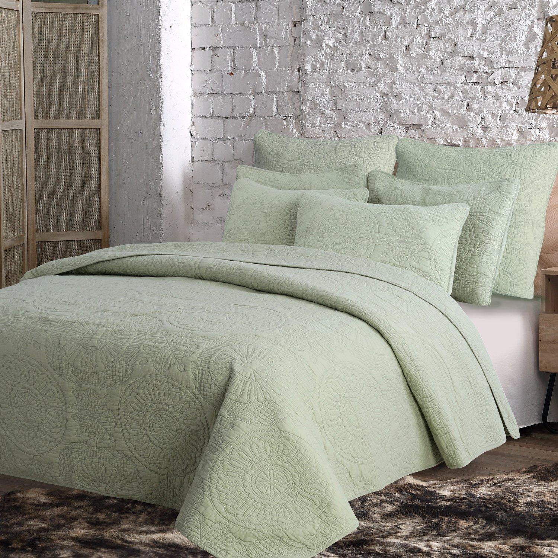 Estate Brand, Avani Cotton Quilt Bedding Set, Sage, Twin Size (153507)