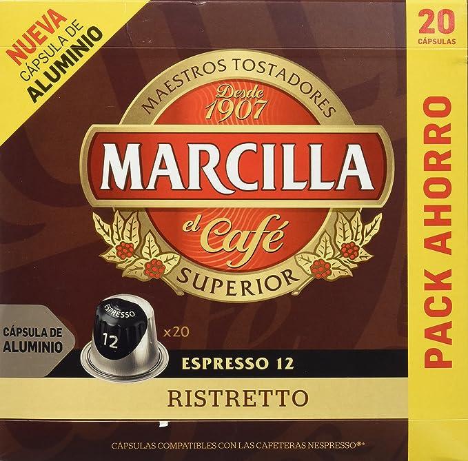 Marcilla Café Espresso Ristretto - Intensidad 12 - 20 Cápsulas de ...