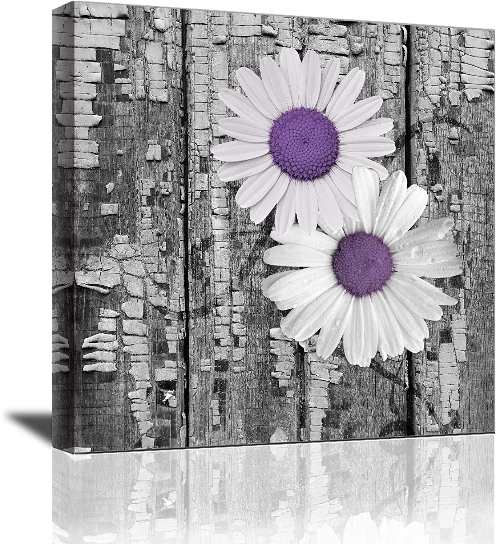Yi Chuang Art Black and White Wall Art Purple Flowers Chrysanthemum Wall Decor Bathroom Decor Modern Home Decor Bedroom Art Girls Flowers Wall Decor Rustic Canvas Kitchen Wall Decoration