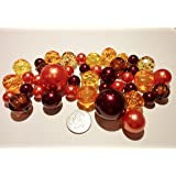 Fall / Thanksgiving Vase Fillers 40 Jumbo & Assorted sizes Orange Pearls, Burgundy Red Wine Pearls & Pumpkin Gems Value Pack. NOT INCLUDING THE TRANSPARENT WATER GELS FOR FLOATING THE PEARLS (SOLD SEPARATELY).