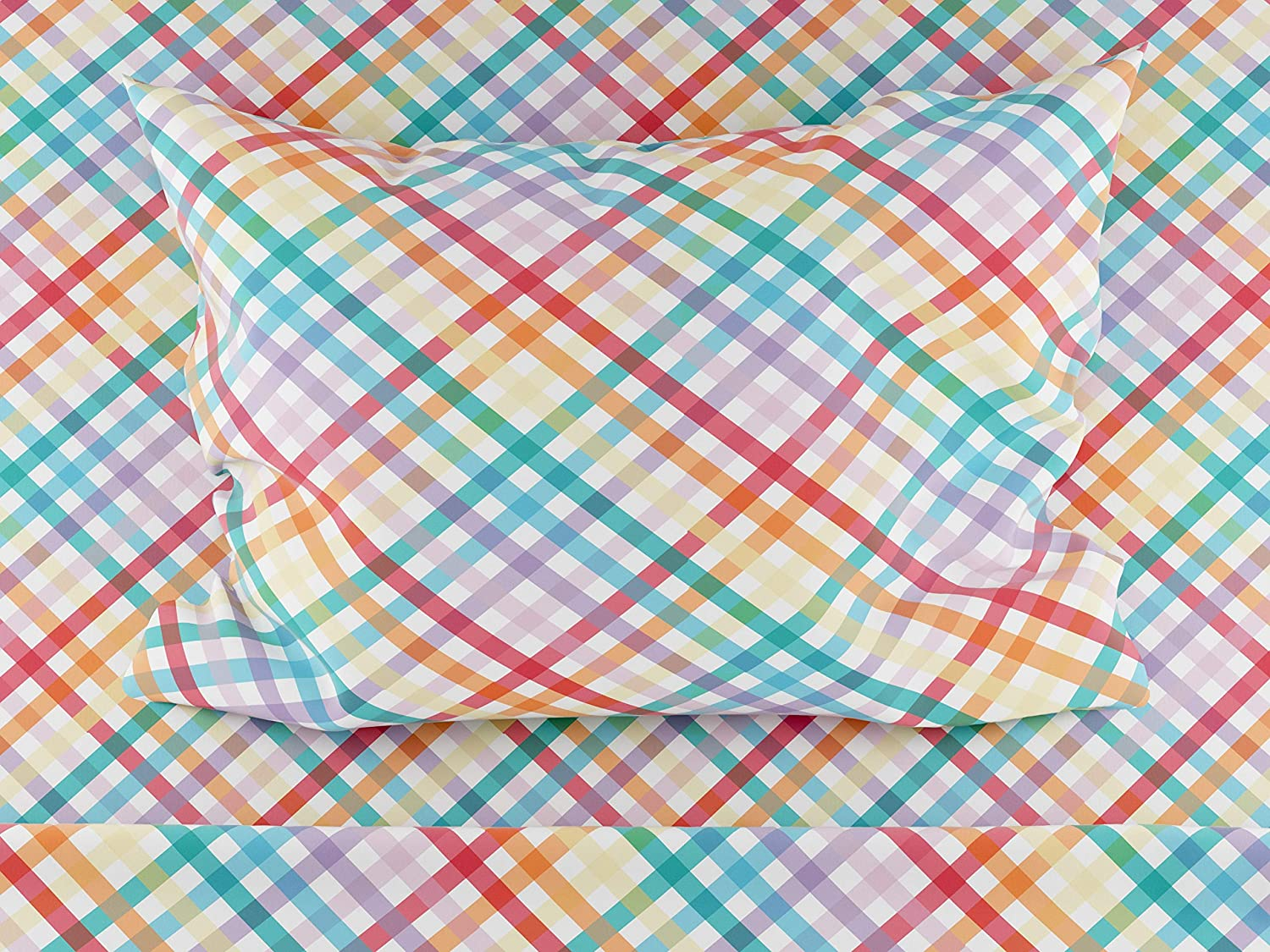 Twin Size Rainbow Gingham Bed Sheet