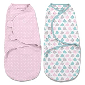 SwaddleMe Original Swaddle 2-pk - Pink Polka, Small (0-3 Months, 7-14 Lb, or up to 26-inches), Whales Pink/Stars, Pink Polka Whale