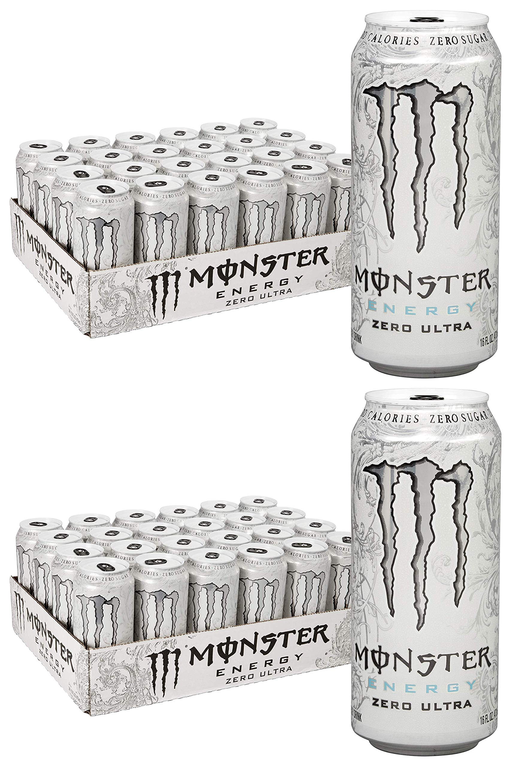 MLLSH Zero Ultra, Sugar Free Energy Drink, 16 Ounce, 2 Cases of 24 Cans
